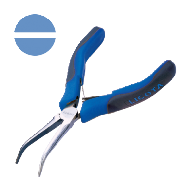 LONG BENT NEEDLE NOSE PLIERS, NON CUTTER, SMOOTH JAWS (SPRING WITH SHEET STAINLESS STEEL)